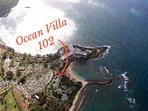 An aerial view of the Ocean Villas and Turtle Bay!