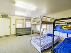 Kids will love sleeping in the twin-over-full and twin-over-twin bunk beds in the lower-level family room.