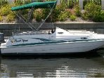 23.6 foot Hurricane Sun Deck Boat . Capacity 12 people. Available to rent to a very low rate
