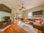 Gorgeous living space with sofabed, convertible to a queen, rise & fall blinds, Smart TV with cable.