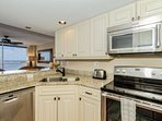 Completely updated and modern, cooking the basics or full meals will be a joy in this kitchen over looking the Bay.