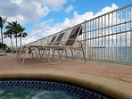 Relax in the hot tub next to the resort pool, directly over looking the Estero Bay.
