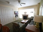 View of Murphy bed cabinet and living room 2 bed twin- queen. .