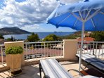 Roof terrace with loungers and fabulous sea view