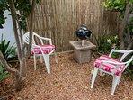 Separate garden and barbecue/ braai area