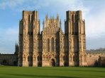 Wells Cathedral in all its glory. Less than 10 mins walk from Mews Cottage. Market Place 100 yds on.
