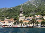 Perast from the sea.