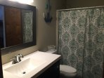 Newly renovated upper level bathroom with bath tub and shower