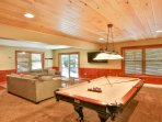 1st floor game room, 8-foot pool table and 55-inch SmartTV