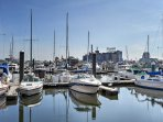 The harbor is a short 5-minute walk from the property.