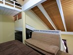 Upstairs loft with Queen bed and Futon sleeper