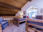 Loft with two twin beds- flat screen tv