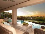 Sunset, ocean, mountain, and golf course views from the gorgeous pool deck and covered lanai.