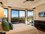 Second bedroom, with king bed, flat-screen TV, walk-in closet, en suite bath, and sliding doors to pool deck.