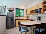 Studio kitchenette with breakfast bar.