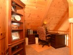 Office in loft with sweeping view of the Sangre de Cristo Mountains