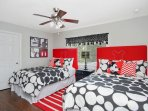 Mickey Mouse bedroom, 2 full beds, 32' TV