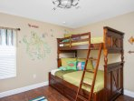 Peter Pan bedroom, twin bunk over a full bed, twin trundle, sleeps 4, 32' TV
