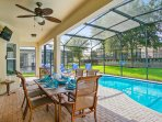 Shaded lanai with ceiling fan, TV, child safety fence, patio dining for 6