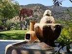 Fountain and Chimenea.  Mountain views (lemon tree)