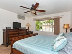 Master Bedroom with King Bed, TV & Ceiling Fan