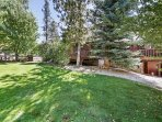 Enjoy family barbecues and yard games in the spacious backyard