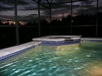 Pool lights at night