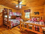 This bedroom offers a Twin-over-Full bunk bed and full bed.