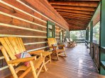 Upon arrival, you will be greeted by 'Starry Sky Cabin's' beautiful wrap around porch complete with 2 rocking chairs...
