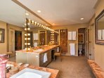 There's plenty of room to get ready for the day in this spacious en-suite bathroom.