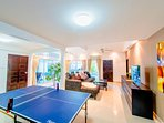 Living room. Game room. Ping pong.