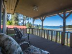 Nice covered deck with lake views