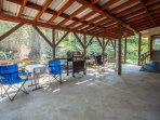 Large covered back porch area