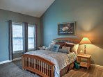 You'll find a queen bed in the master bedroom.