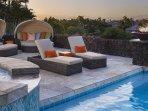 Main lanai with private pool and spa, plus plentiful plush seating.