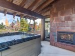 Hot tub and outdoor fireplace