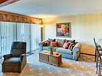Relax on the ample plush furniture after a day on the lake.