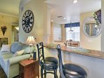 Enjoy a snack at the charming breakfast bar