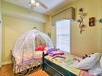 The kids will enjoy this fun Cinderella-themed bedroom!
