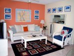 Another shot of the colourful living room