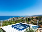 Hot tub area offers panoramic views of the sea and Rethymno town
