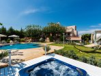 Spacious outdoor area of our villa with many spots for total relaxation