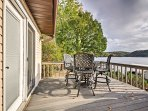 Enjoy lake views from the open deck!