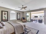 Enjoy the layout of this Large Master Bedroom with King size bed, private bathroom, closet and multi sliding arcadia...