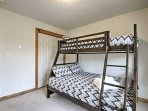 Send the kids to sleep on the twin-over-full bunk bed in the second bedroom.