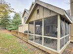 The screened porch provides a first-class view of the great outdoors.