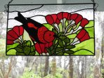 Local artist's stained glass Apapane