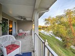 From the large covered deck, you'll have a beautiful view of the pond and Pointe Royal Golf Course.