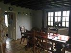 Oak beamed dining room.