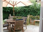 The decking outside has plenty of seating